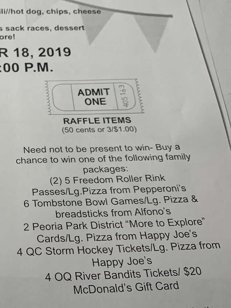 3r-5th are selling Raffle Tickets through 10/17!