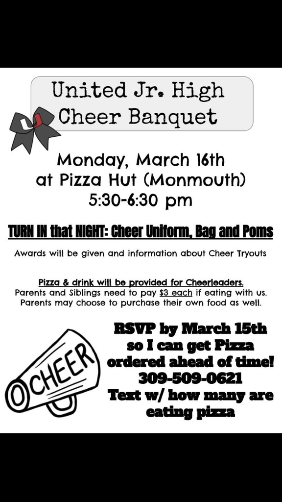Please see the following information regarding the cheerleading banquet.